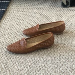 Tan Perforated Leather Loafers